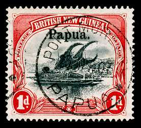 Papua New Guinea Stamp - 1906 1p carmine and black Lakatoi Overprinted