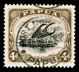 Papua New Guinea Stamp - Perf 11, 1910 4p black brown and black Lakatoi