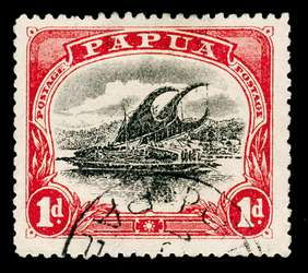 Papua New Guinea Stamp - 1910 1p carmine and black Lakatoi