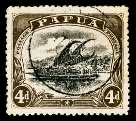Papua New Guinea Stamp - 1910 4p black brown and black Lakatoi