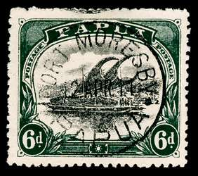 Papua New Guinea Stamp - 1910 6p dark green and black Lakatoi